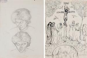 Alberto GIACOMETTI - Dibujo Acuarela - Deux Études d'Annetta Giacometti