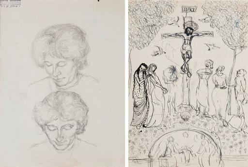 Alberto GIACOMETTI - Drawing-Watercolor - Deux Études d'Annetta Giacometti