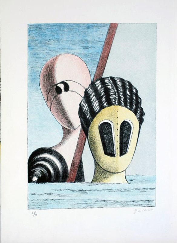 Giorgio DE CHIRICO - Stampa Multiplo - Le maschere 1973.