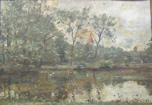 Rudolf HÖCKNER - 绘画 - Landschaft mit Gewässer