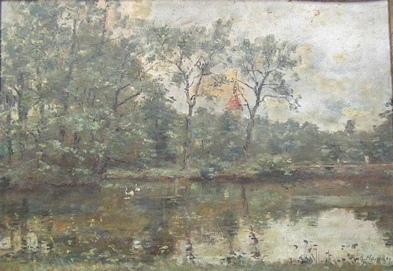 Rudolf HÖCKNER - Painting - Landschaft mit Gewässer