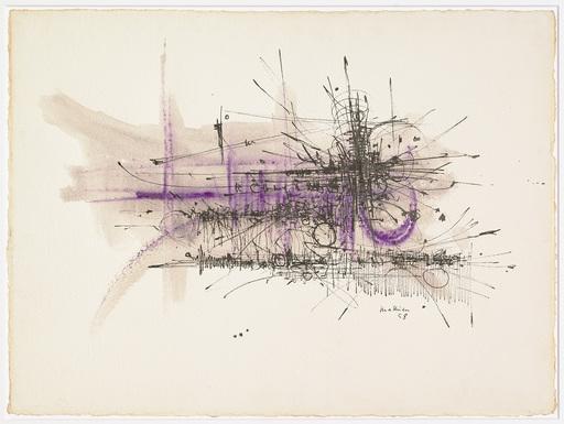 Georges MATHIEU - Zeichnung Aquarell - Composition abstraite