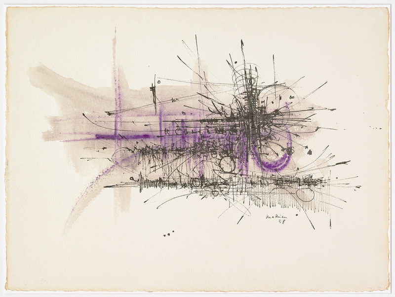 Georges MATHIEU - Drawing-Watercolor - Composition abstraite