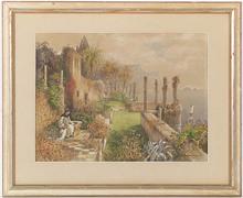 "Paul REIFFENSTEIN - Dessin-Aquarelle - ""Ruins of the Antique Palace in Ragusa (Dubrovnik), Croatia"""