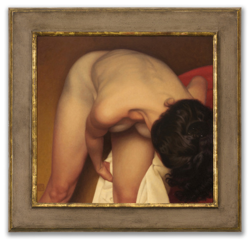 Michael LEONARD - Pittura - Female Bather on Gold II
