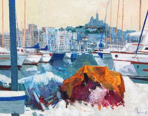 Claude FAUCHERE - Painting - Notre Dame de la Garde, Marseille