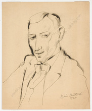 "Boris DEUTSCH - Dibujo Acuarela - ""Self-portrait"", drawing"