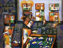 Ibrahim KODRA - Pintura - Vendita di pesce ad Amalfi