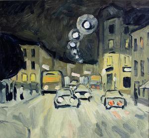 Valeriy NESTEROV - Painting - Lubyanka street. Moscow