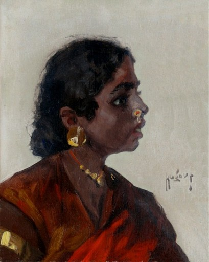 Hugo Vilfred PEDERSEN - Painting - Portrait of a Hindu girl