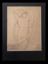 Marie Vorobieff MAREVNA - Dessin-Aquarelle - Pointillist style portrait of a nude Lady