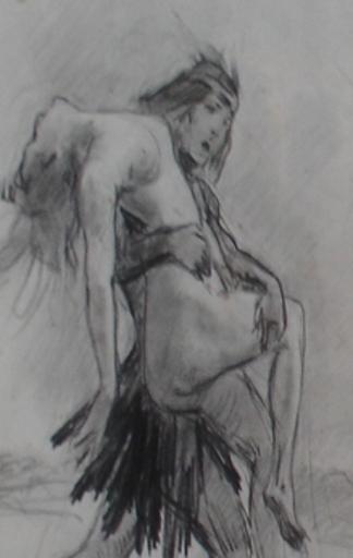 Ulpiano CHECA Y SANZ - Drawing-Watercolor - Tabaré - Indien - Zorrilla San Martín  - América