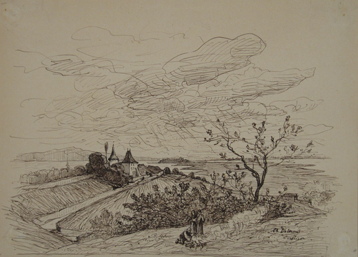 Alfred Paul Emil Etienne DUMONT - 水彩作品 - Cerlier - Erlach