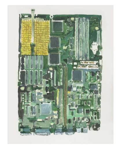 Tony OURSLER - Drawing-Watercolor - Mother Board