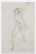 Jacques Louis DAVID - Dessin-Aquarelle - Femme nue assise; au verso, L'Amour assis