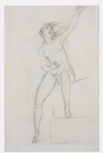 Jacques Louis DAVID - Drawing-Watercolor - Femme nue assise; au verso, L'Amour assis