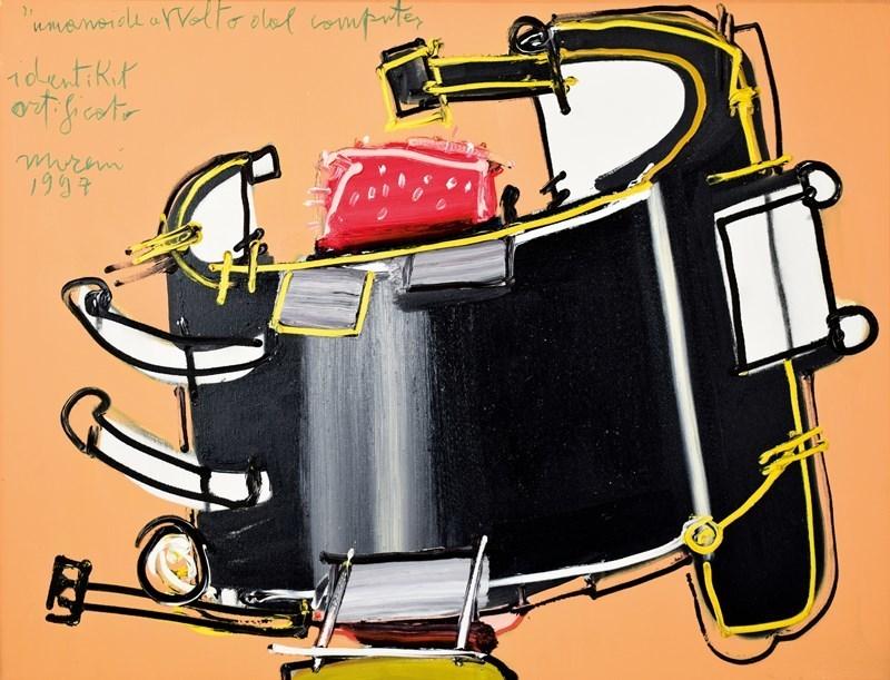 "Mattia MORENI - Painting - UMANOIDE AVVOLTO DAL COMPUTER"" IDENTIKIT ARTIFICATO,"