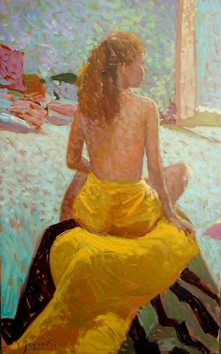 Eugène BEGARAT - Pintura - Jeune fille assise