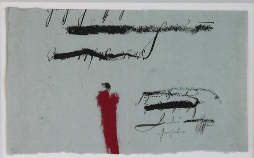 Karl Heinz BOHRMANN - Dessin-Aquarelle - Rote Figur in Landschaft