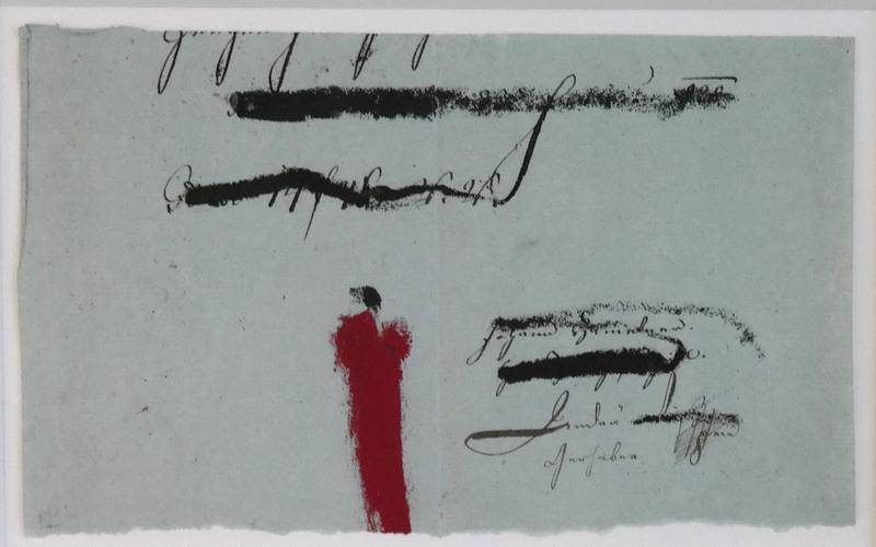 Karl Heinz BOHRMANN - Drawing-Watercolor - Rote Figur in Landschaft