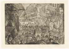 詹姆斯.恩索尔 - 版画 - L'entrée du Christ à Bruxelles.