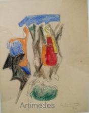 """LE CORBUSIER (1887-1965) - Etude pour """"Violon, os et Saint-Sulpice"""", 1930"""