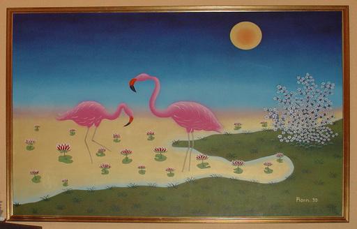 Manfred HORN - Pittura - Flamingos