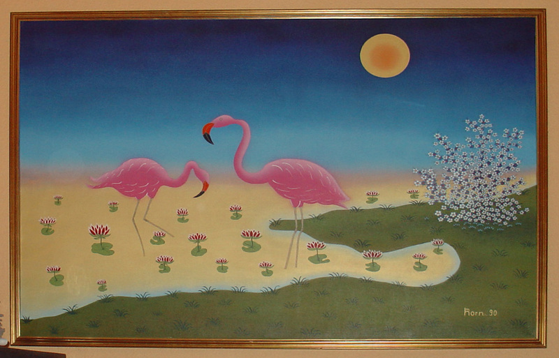 Manfred HORN - Painting - Flamingos