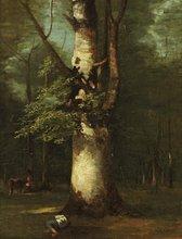 Léon COGNIET - Pintura - Vacher endormi au pied de l'arbre
