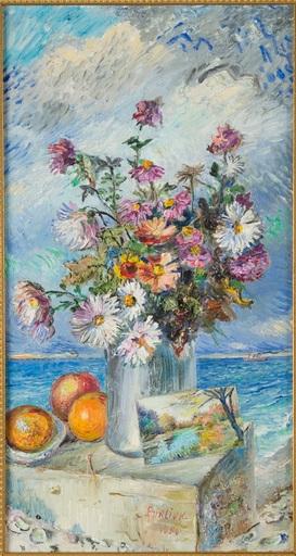 David BURLIUK - Gemälde - Bouquet with a post card