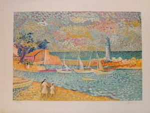 """Lucien NEUQUELMAN - Print-Multiple - """"Promenade sur le Port"""" 1984"""