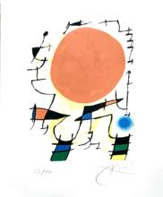 胡安·米罗 - 版画 - Le Soleil Rouge