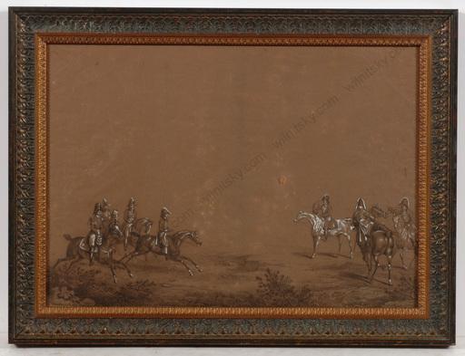 """Carle VERNET - Dessin-Aquarelle - """"Chasses du Duc de Berry á Compiégne, 27th of April 1818"""""""