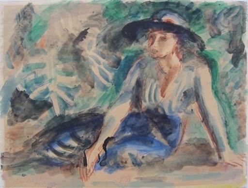 Wilhelm GIMMI - Dibujo Acuarela - femme en bleu