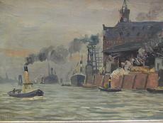Wilhelm Julius EBERHARDT - Painting - Graue Hafenstimmung mit Kaispeicher