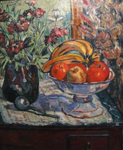 André WILDER - Painting - Vaso di Fiori e Frutta, 1913