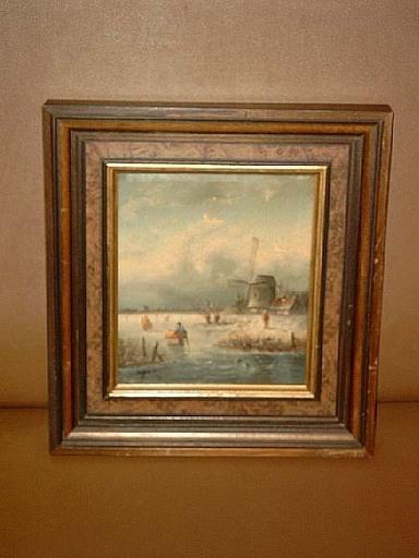 Arie HERKELMAN - Painting - Holländische Winterlandschaft mit Mühle