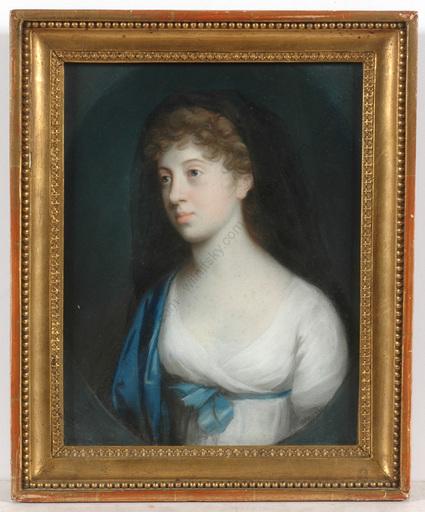 """Johann Heinrich SCHRÖDER - Zeichnung Aquarell - """"Marie, Duchess of Brunswyck"""", important pastel!! 1800/1805"""
