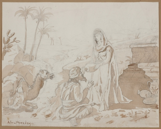 "Alphons Leopold MIELICH - Drawing-Watercolor - ""Orientalist Drawing"""
