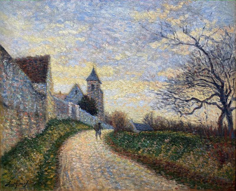 Léo GAUSSON - Gemälde - L'église de Conches sur Gondoire, paysage aux environs de La