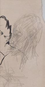Alberto GIACOMETTI - Drawing-Watercolor - Profil d'homme