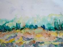 Patricia ABRAMOVICH - Zeichnung Aquarell - Land Green