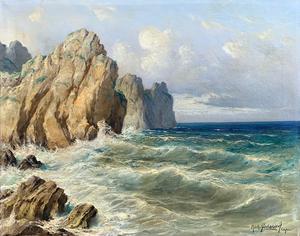 Michele FEDERICO - Pintura - Scogliera a Capri