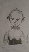 藤田嗣治 - 版画 - Portrait de jeune fille.