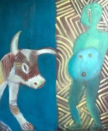 Michel DELAQUAIZE - Pintura - Africain au taureu