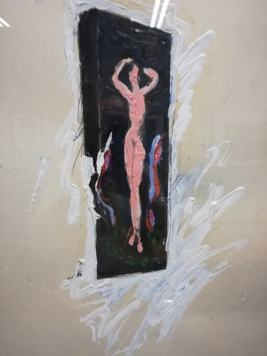 Mario SCHIFANO - Peinture - Nudo di fronte