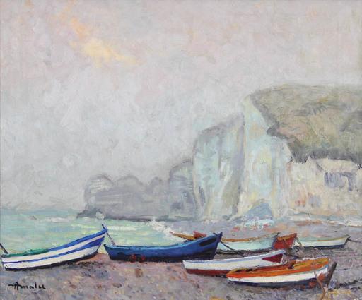 Albert MALET - Pittura - Barques à Etretat