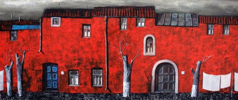"Zurab GIKASHVILI - Gemälde - ""Red House"""
