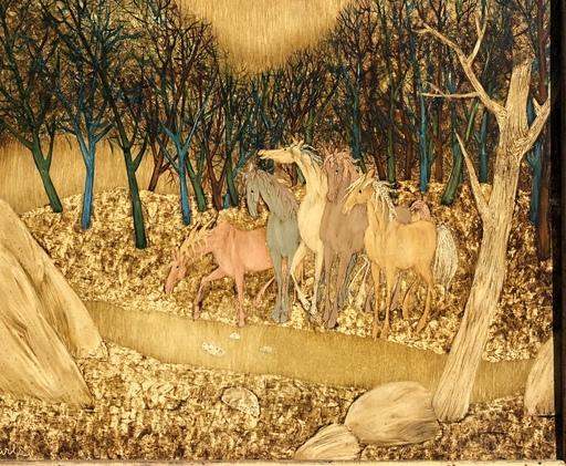 Félix VARLA - Pintura - Les chevaux dans la forêt
