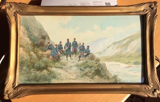 Pierre COMBA - Drawing-Watercolor - Halte des artilleurs